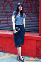 lace pencil J Crew skirt - chain J Crew bag