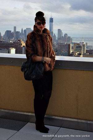 faux fur asos coat - tall suede stuart weitzman boots - Spanx tights