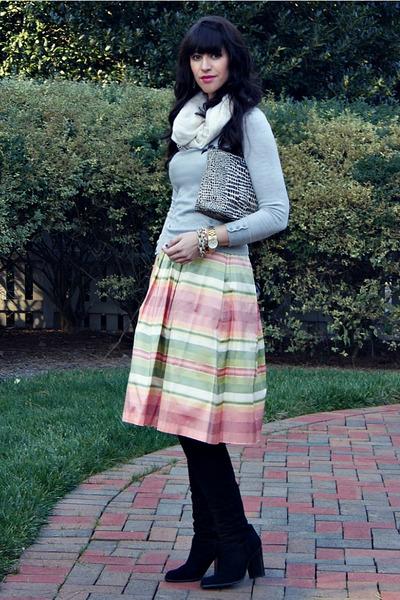suede tall stuart weitzman boots - silk striped Girl Cat NYC dress