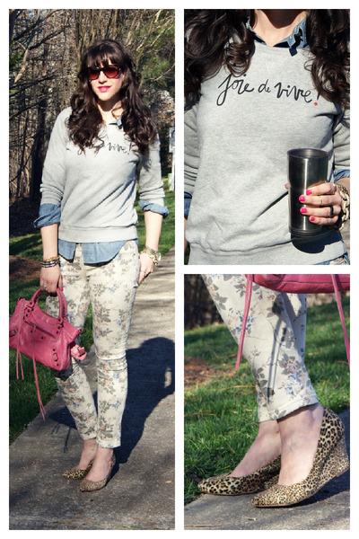 classic first balenciaga bag - floral skinny Marshalls jeans
