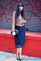 lace pencil J Crew skirt - leather haute hippie jacket - chain J Crew bag