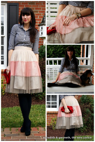 tutu Forever 21 skirt - gingham J Crew shirt - clutch J Crew bag