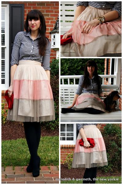 tutu Forever 21 skirt - gingham J Crew shirt - clutch J Crew bag