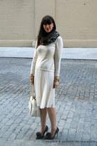 white kate spade bag - knit asos sweater - leopard banana republic scarf