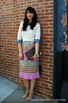 sequin stripe J Crew skirt - polka dot madewell sweater
