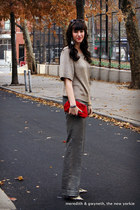 metallic J Crew sweater - satin J Crew bag - metallic J Crew pants