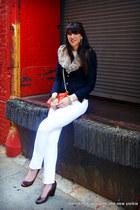 white j brand jeans - navy Club Monaco blazer - mini mac Rebecca Minkoff bag