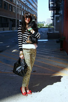peplum Zara top - bow Valentino bag - striped J Crew t-shirt