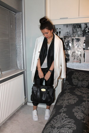 Oasis jacket - Topshop coat - Mulberry bag - Miss Selfridge top - nike sneakers