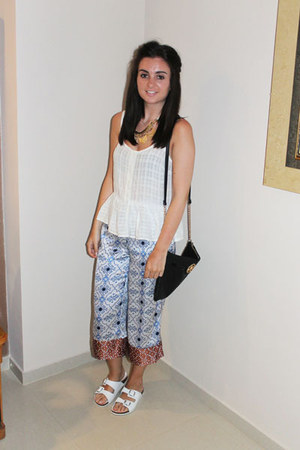 white Topshop top - black River Island bag - sky blue Topshop pants