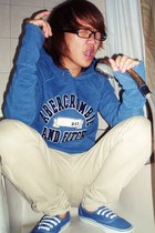 blue abercrombie and fitch hoodie - blue Vans sneakers