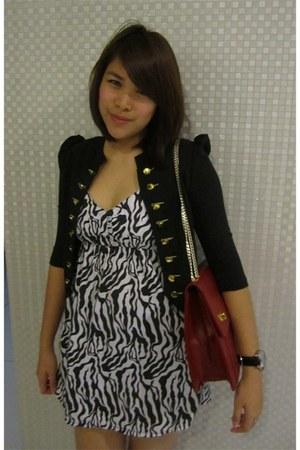 black from singapore dress - black from KL blazer - red TeeToo bag