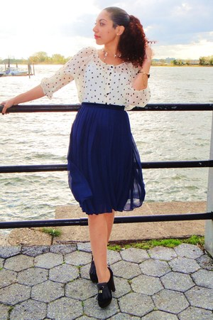 black pumps Payless loafers - navy midi H&M skirt - cream polka dots H&M blouse