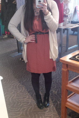 Payless boots - H&amp;M dress - BCBG cardigan - f21 necklace