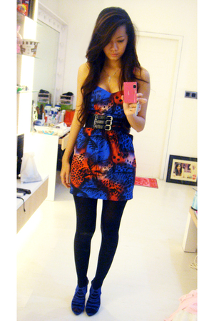 blue Zara shoes - Topshop dress - black random brand belt