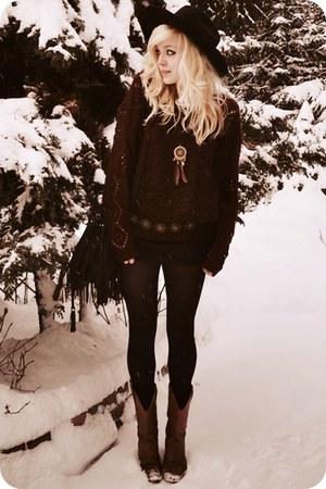 crimson sweater - brown boots - black skirt
