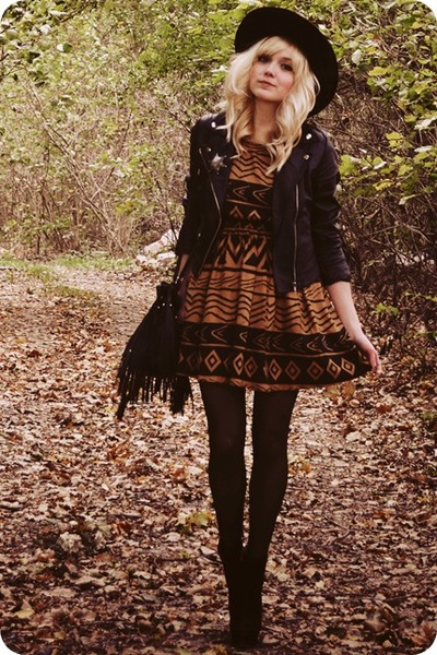 black boots - burnt orange dress - black jacket