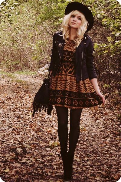 black boots - burnt orange dress - black jacket