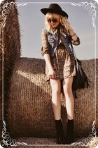 black boots - brown dress - periwinkle vest
