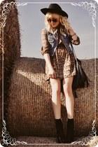 black boots - brown dress - periwinkle vest