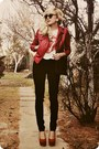Black-jeans-ruby-red-jacket-dark-brown-bag-ivory-t-shirt
