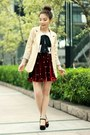 Beige-polka-dots-cuff-blazer-black-heels-ruby-red-skirt