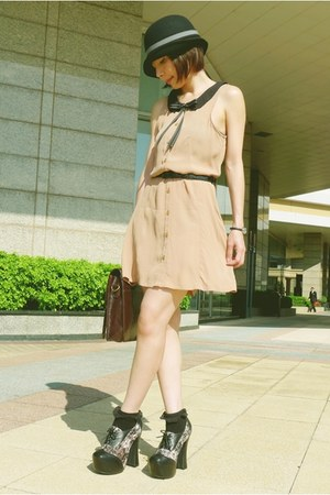 tan H&amp;M dress - black Tie Rack hat - dark brown satchel bag - black bobby socks