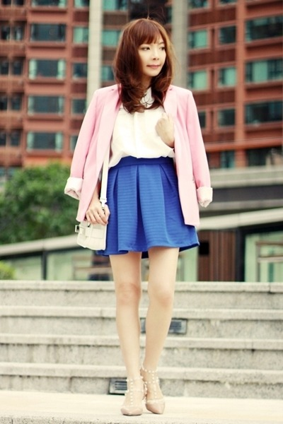 blue BangGood skirt - bubble gum Choies blazer - white PROENZA SCHOULER bag