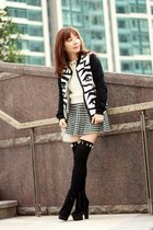 white cable knit H&M sweater - black suede lace-up boots - black Choies jacket