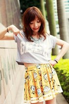 yellow Sheinside skirt - black lace-up boots - silver crosses necklace