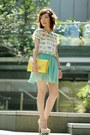 Light-yellow-bag-aquamarine-pleated-chiffon-skirt-white-zara-top