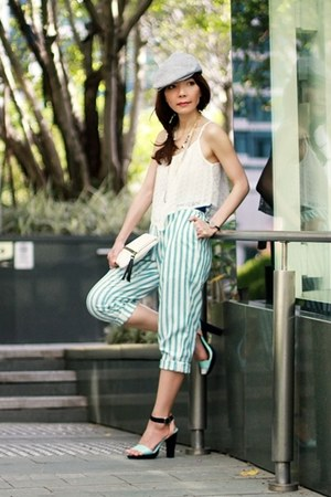 aquamarine ankle strap H&M heels - white Lookbookstoreco top
