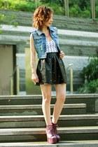 magenta litas exotic Jeffrey Campbell shoes - black romwe skirt