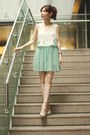 Choies-bag-silver-bershka-heels-aquamarine-skirt-white-sheinside-top