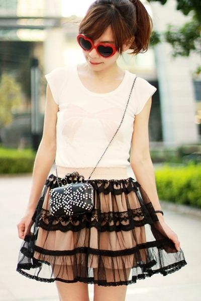 light pink ianywear skirt - black bag - red heart-shaped sunglasses