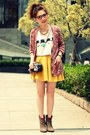 Light-brown-suede-zara-boots-black-bag-yellow-skater-skirt-white-t-shirt