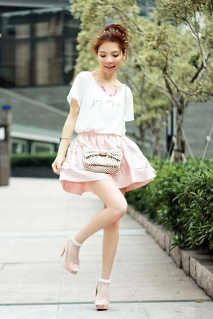 light pink thai silk skirt - light pink bow polka dots RED valentino bag