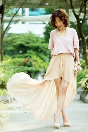 gold hilo maxi dress Love dress - light pink knit BBW sweater