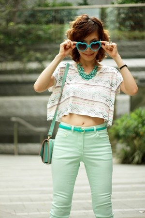turquoise blue H&amp;M necklace - aquamarine H&amp;M jeans - aquamarine satchel bag