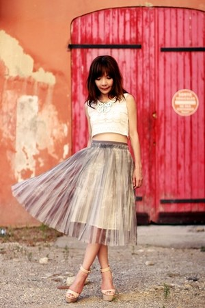 silver midi tulle skirt - white Choies necklace - white DIY top
