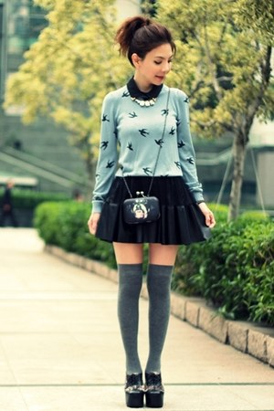 light blue swallow prints sweater - black Jeffrey Campbell shoes - black bag