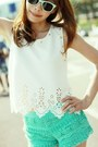 Turquoise-blue-lace-shorts-aquamarine-h-m-sunglasses