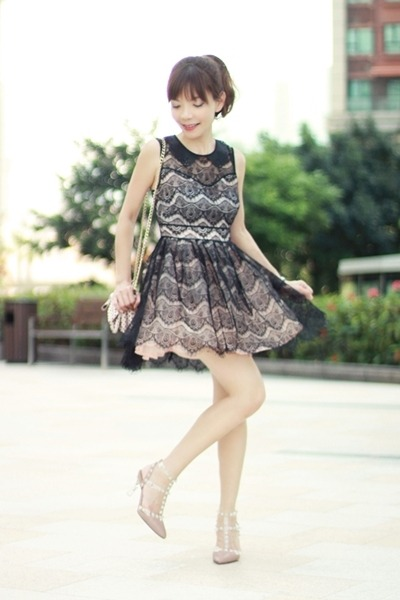black Sheinside dress - light pink bow RED valentino bag - tan Choies heels