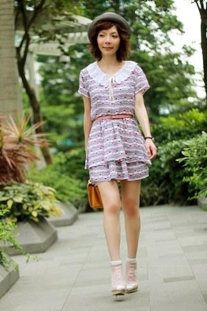 periwinkle BBW dress - white bows pattern socks - white DIY accessories