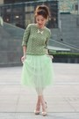 Green-knit-forever-21-sweater-ivory-necklace-aquamarine-midi-tulle-skirt