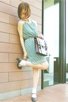 dark brown satchel bag - dark brown mary janes shoes - turquoise blue dress