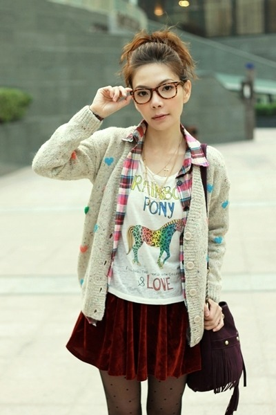 off white hearts knit cardigan - bubble gum plaid shirt - white H&M t-shirt