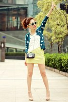 teal cardigan - aquamarine H&M sunglasses