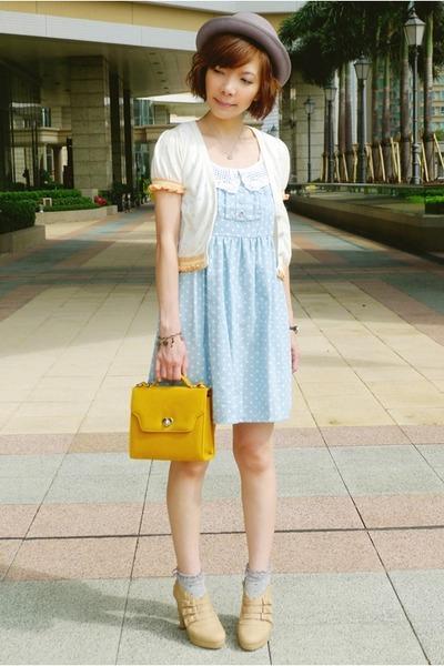 mustard heart lock bag - light blue polka dots dress