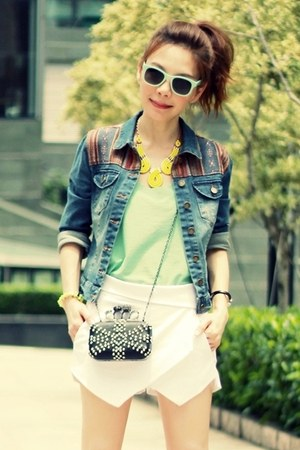 blue Forever 21 jacket - black bag - white origami skort Sheinside shorts